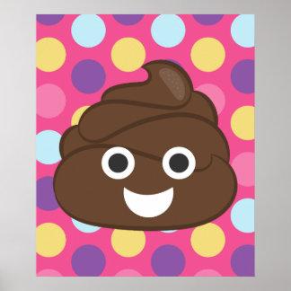 Polka Dot Emoji Poop Colorful Poster