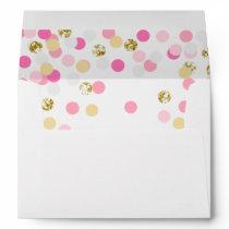 Polka dot Envelope Pink Gold Confetti Girl Shower