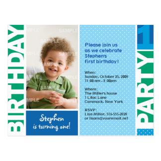 Polka Dot First Birthday Party Invitation Postcard