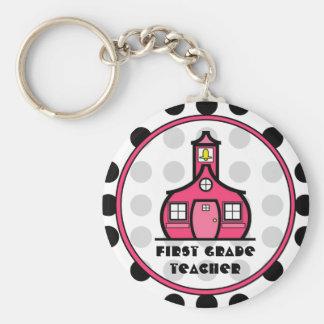 Polka Dot First Grade Teacher Keychain
