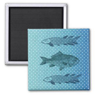 Polka Dot Fish 2 Inch Square Magnet