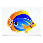 Polka Dot Fish in Blue & Orange Custom Invitations