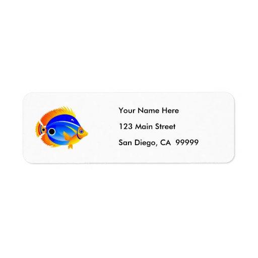 Polka Dot Fish in Blue & Orange Return Address Label