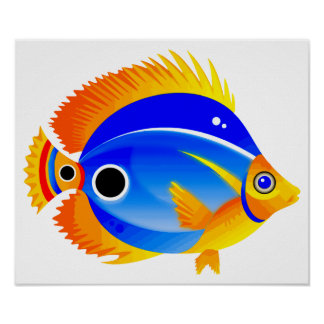 Polka Dot Fish in Blue & Orange Poster
