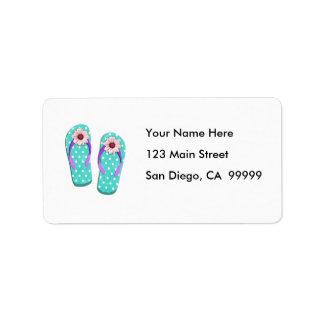 Polka Dot Flip Flops Personalized Address Labels