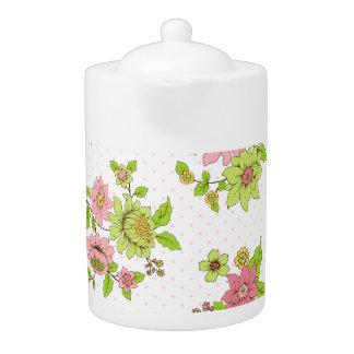 Polka Dot Floral Pattern Medium Teapot