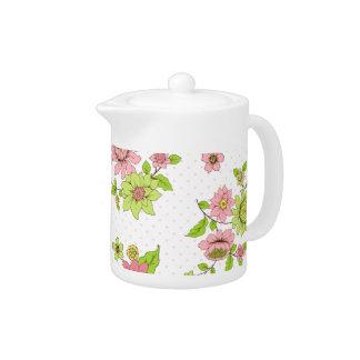 Polka Dot Floral Pattern Small Teapot