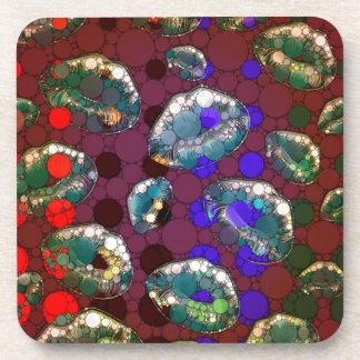 Polka-dot Florescent Lips Beverage Coaster