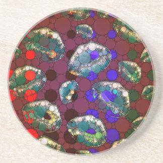 Polka-dot Florescent Lips Drink Coaster