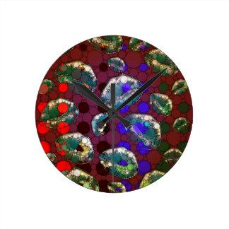 Polka-dot Florescent Lips Round Clock
