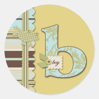 Polka Dot Frog & Stripe with B monogram Round Sticker