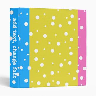 Polka Dot Fun - Pink, Blue & Yellow 3 Ring Binder