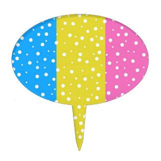 Polka Dot Fun - Pink, Blue & Yellow Cake Topper
