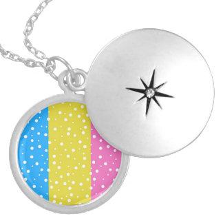 Polka Dot Fun - Pink, Blue & Yellow Round Locket Necklace