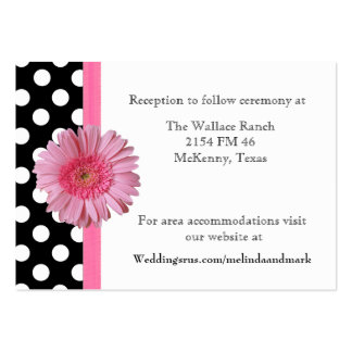 Polka Dot & Gerber Daisy Wedding Enclosure Card Large Business Cards (Pack Of 100)