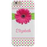 Polka Dot Gerbera Daisy Pink Green Barely There iPhone 6 Plus Case