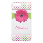 Polka Dot Gerbera Daisy Pink Green iPhone 7 Plus Case