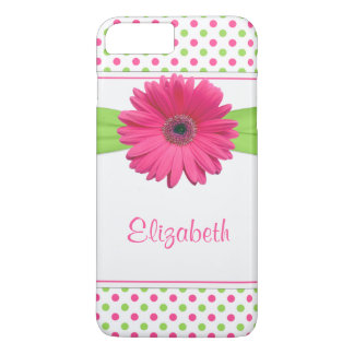 Polka Dot Gerbera Daisy Pink Green iPhone 7 Plus Case
