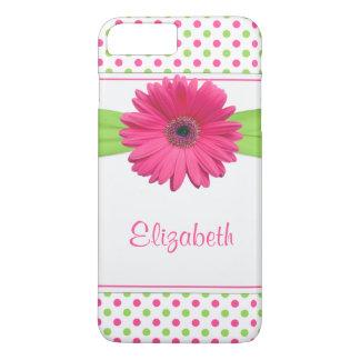 Polka Dot Gerbera Daisy Pink Green iPhone 8 Plus/7 Plus Case