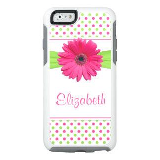 Polka Dot Gerbera Daisy Pink Green OtterBox iPhone 6/6s Case