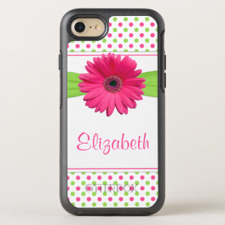 Polka Dot Gerbera Daisy Pink Green OtterBox Symmetry iPhone 7 Case
