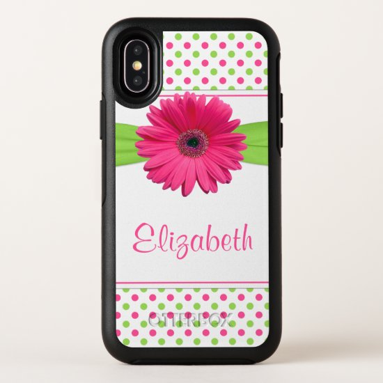 Polka Dot Gerbera Daisy Pink Green OtterBox Symmetry iPhone X Case