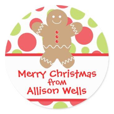 Christmas Themed Polka Dot Gingerbread Man Christmas Gift Sticker