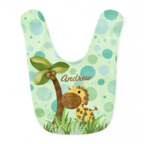 Polka Dot Giraffe Animal Theme Bib