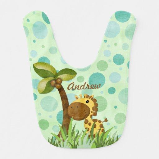 Polka Dot Giraffe Animal Theme Bibs