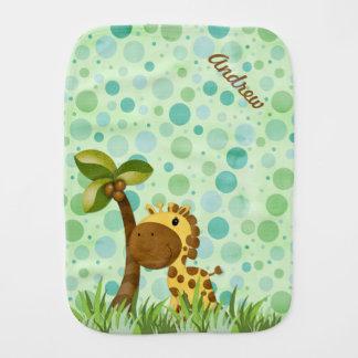 Polka Dot Giraffe Baby Burp Cloth