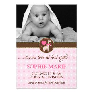 Polka Dot Giraffe Baby Photo Birth Announcement