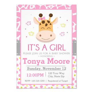 Polka Dot Giraffe Baby Shower Invitation (girl)