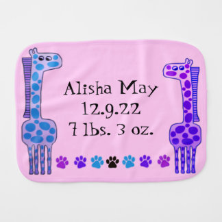 Polka Dot Giraffe Custom Name Baby Cloth