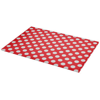 Polka Dot Glass Cutting Board - Red on White