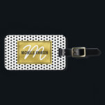 "Polka Dot Gold Glam Monogram Travel Bag Tag<br><div class=""desc"">Stand out from the crowd with this gold glamorous chic luggage tag. White with a black polka dot pattern,  faux gold foil centre with your name,  initial and contact details on the reverse.</div>"