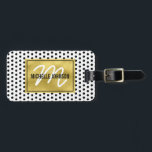 """Polka Dot Gold Glam Monogram Travel Bag Tag<br><div class=""""desc"""">Stand out from the crowd with this gold glamorous chic luggage tag. White with a black polka dot pattern,  faux gold foil centre with your name,  initial and contact details on the reverse.</div>"""