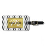 Polka Dot Gold Glam Monogram Travel Bag Tag<br><div class='desc'>Stand out from the crowd with this gold glamorous chic luggage tag. White with a black polka dot pattern,  faux gold foil centre with your name,  initial and contact details on the reverse.</div>