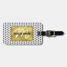 Polka Dot Gold Glam Monogram Travel Bag Tag at Zazzle