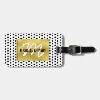 Polka Dot Gold Glam Monogram Travel Bag Tag