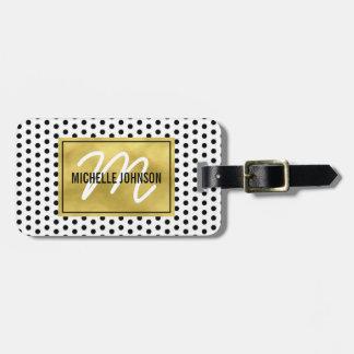 Polka Dot Gold Glam Monogram Travel Bag Tag