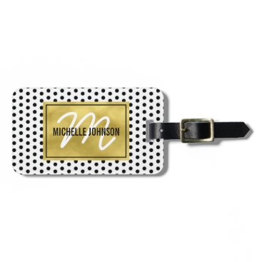 special_stationery Polka Dot Gold Glam Monogram Travel Bag Tag