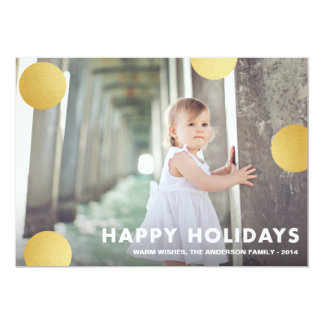 POLKA DOT GOLD | HOLIDAY PHOTO CARD PERSONALIZED ANNOUNCEMENTS