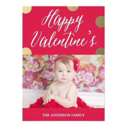 Polka Dot Gold   Valentine's Day Photo Card