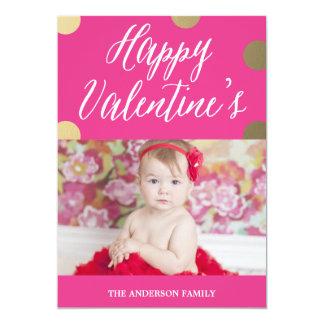 "Polka Dot Gold | Valentine's Day Photo Card 5"" X 7"" Invitation Card"