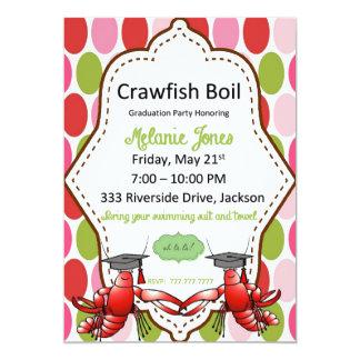 Polka Dot Graduation Crawfish Boil Invitation