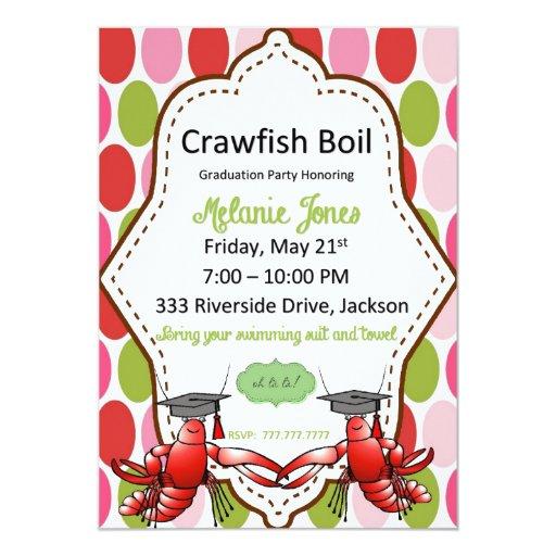 Polka Dot Graduation Crawfish Boil Invitation | Zazzle