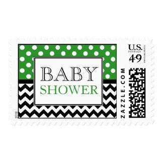 Polka Dot Green & Chevron Baby Shower Postage