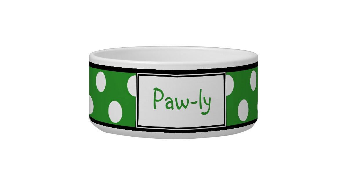 Polka Dot Green Personalized Dog Bowl Zazzle