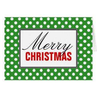 Polka Dot Green, Red Merry Christmas Greeting Card