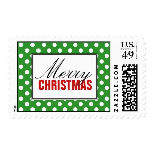 Polka Dot Green, Red Merry Christmas Postage
